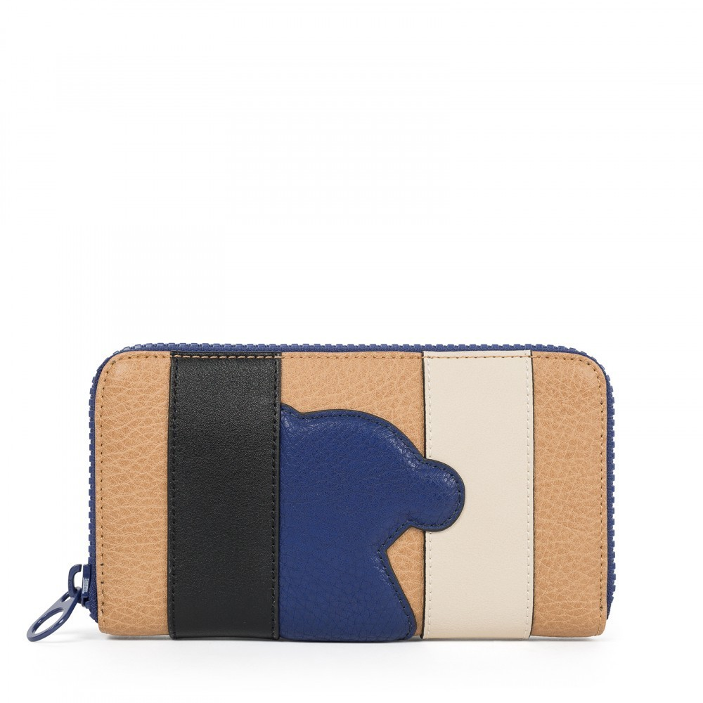 Billetero mediano Patch Greet en color multi-camel