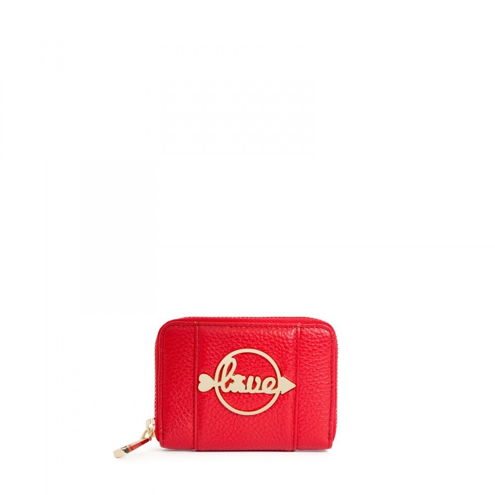 Monedero mediano Alfa Love Day de Piel en color rojo