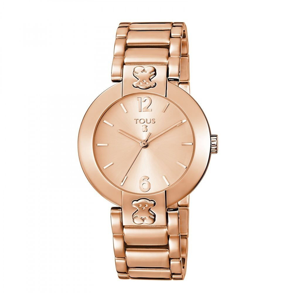 Pink IP Steel Plate Round Watch