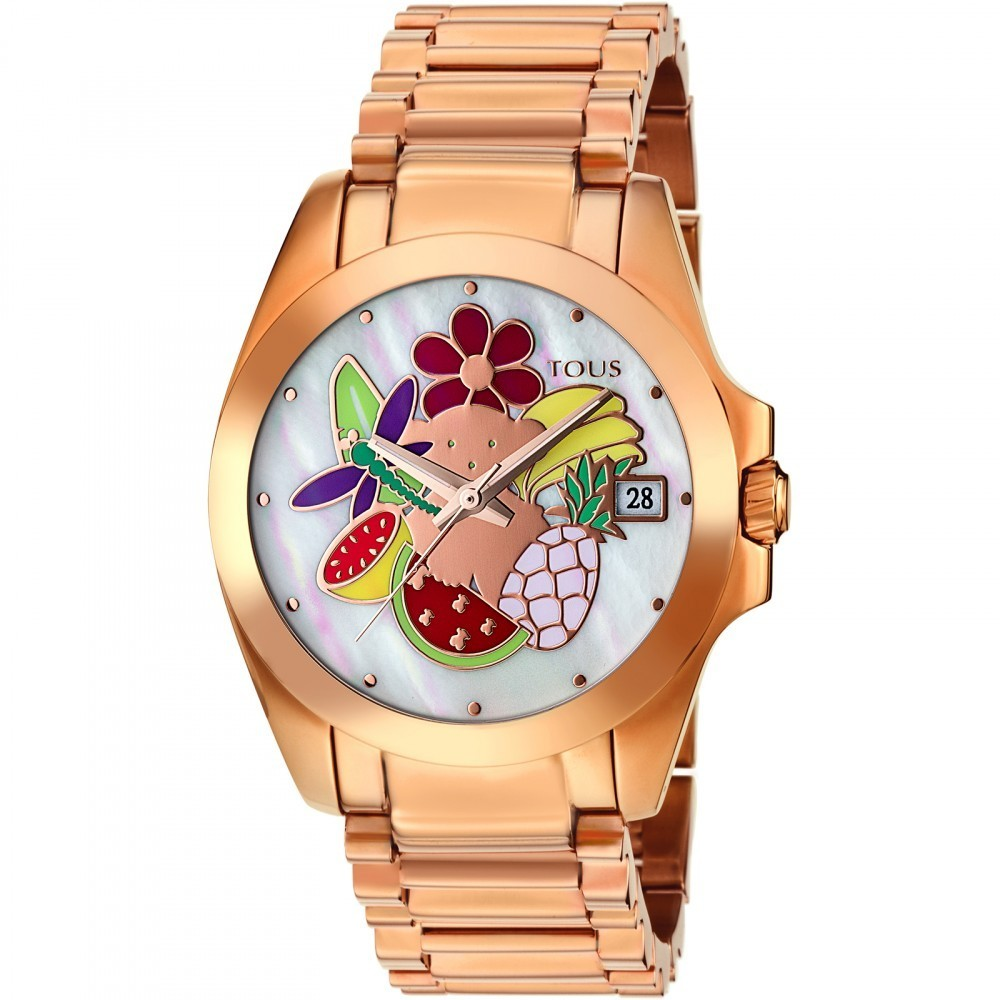 Miranda watch in pink IP steel with mother-of-pearl