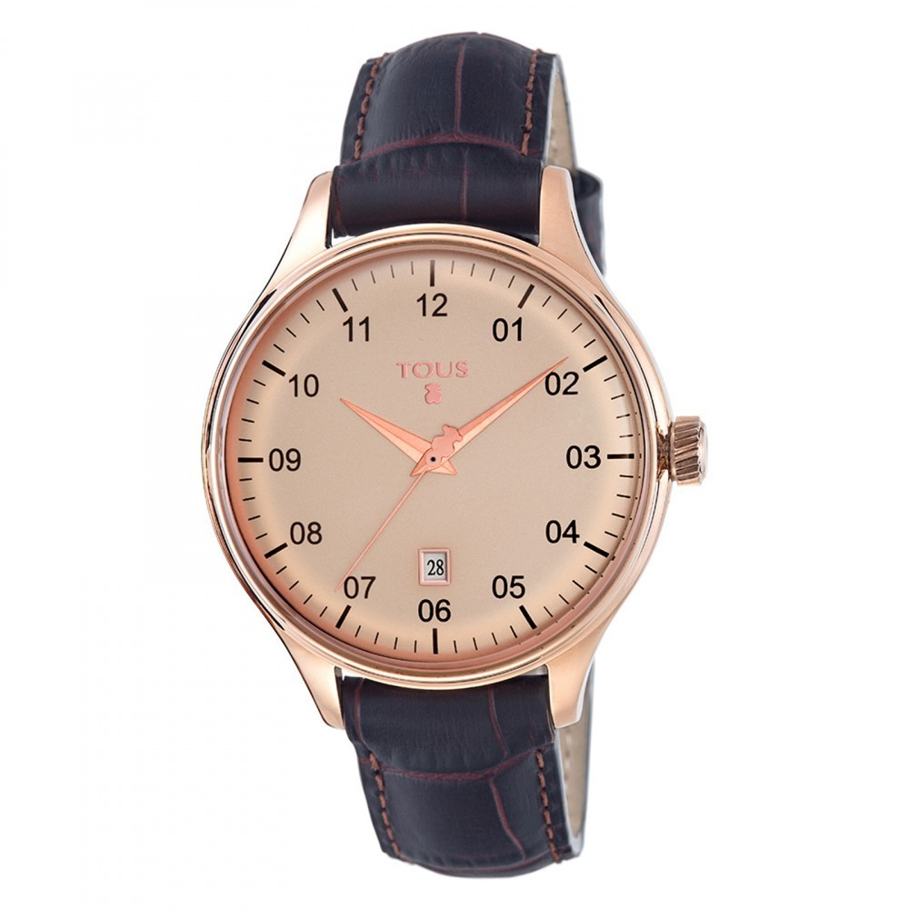 1920 Pink IP Steel Watch with Brown Leather Strap