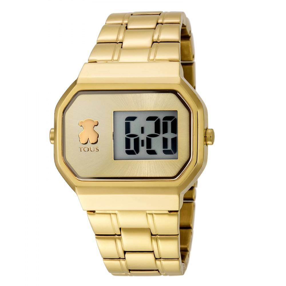 Reloj D-Bear Digital de acero IP dorado