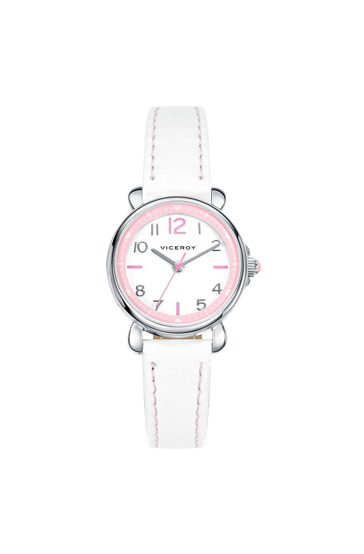 Pink Bezel Leather Watch