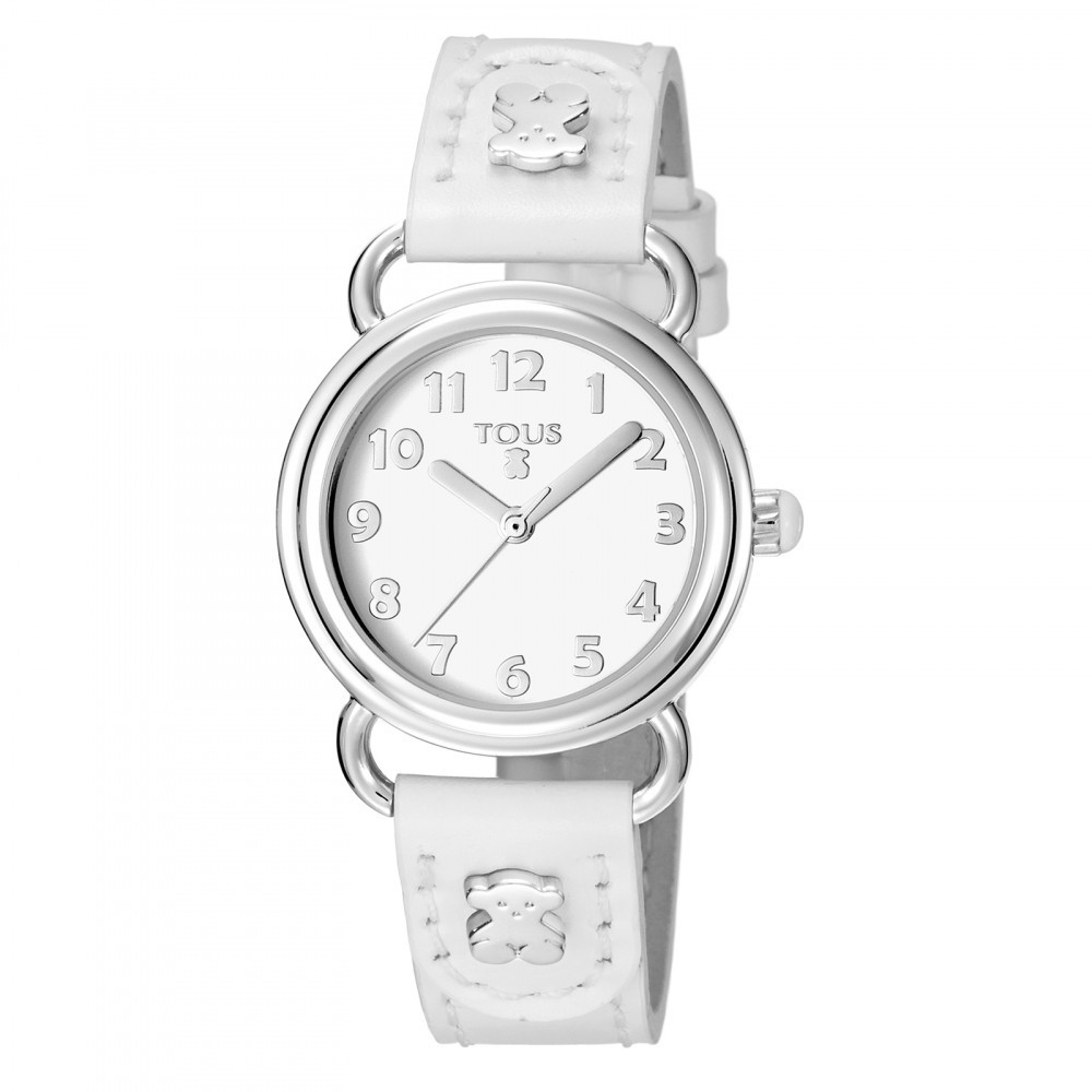 Baby Bear Watch With White Leather Strap