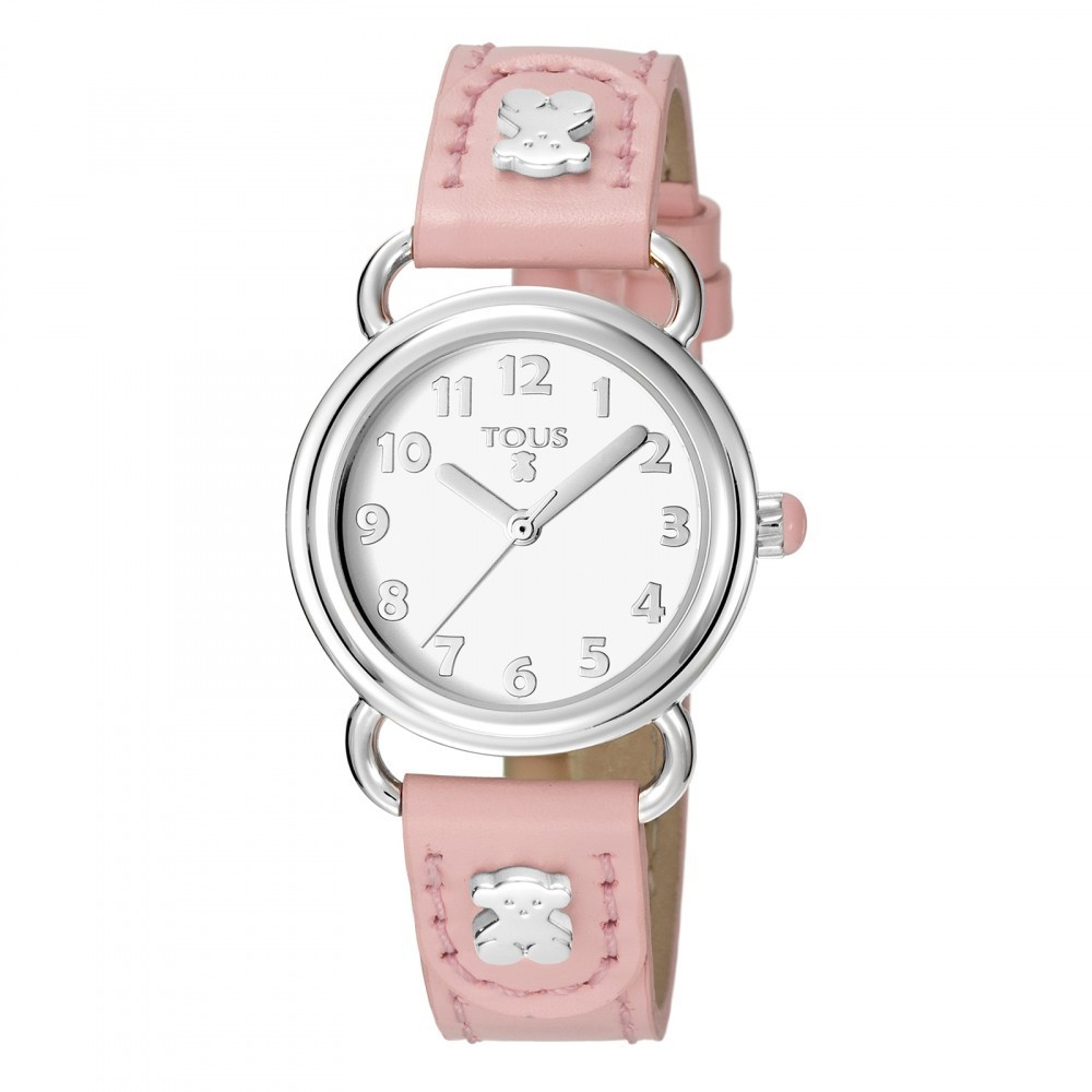 Baby Bear Watch With Pink Leather Strap