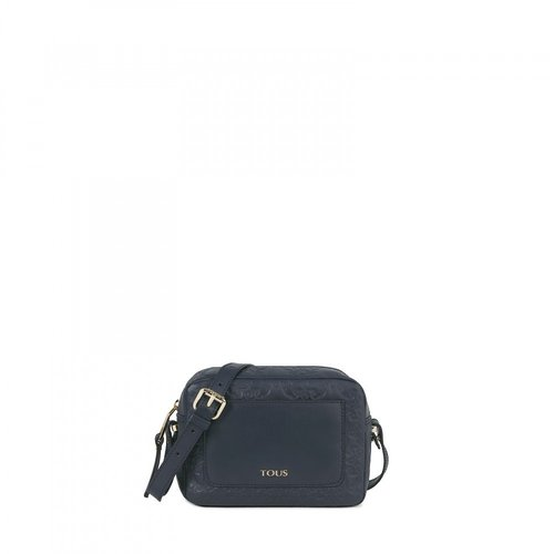 Mossaic medium leather shoulder bag in marine color