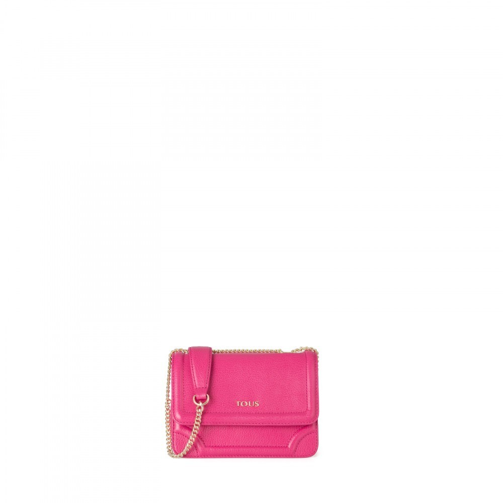 Small leather Obraian shoulder bag in fuchsia