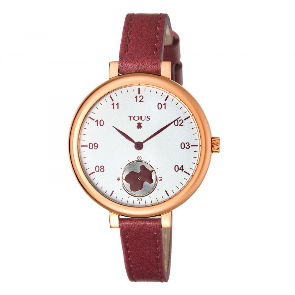 Pink IP Steel Spin Watch with Burgundy Leather Strap