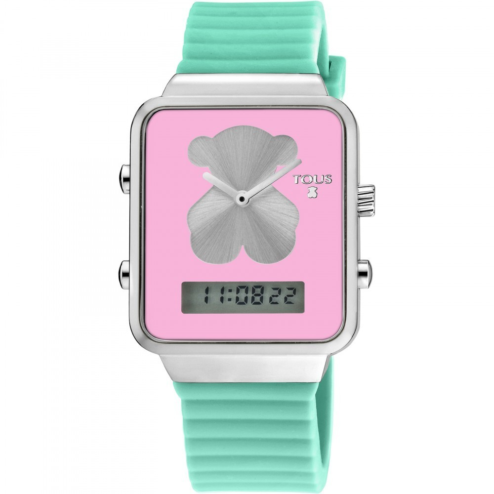 Digital I-Bear Steel Watch with Green Silicone Strap