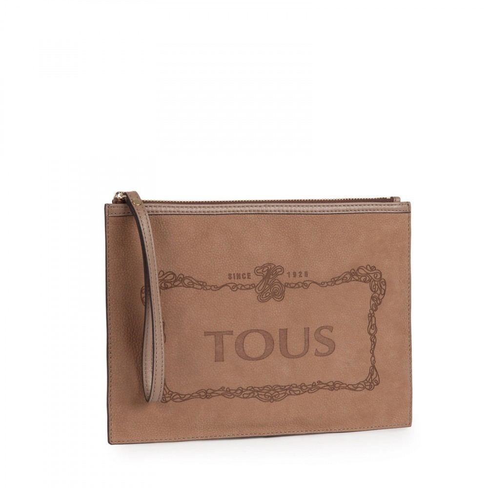 Leather Clutch Estelia in stone color