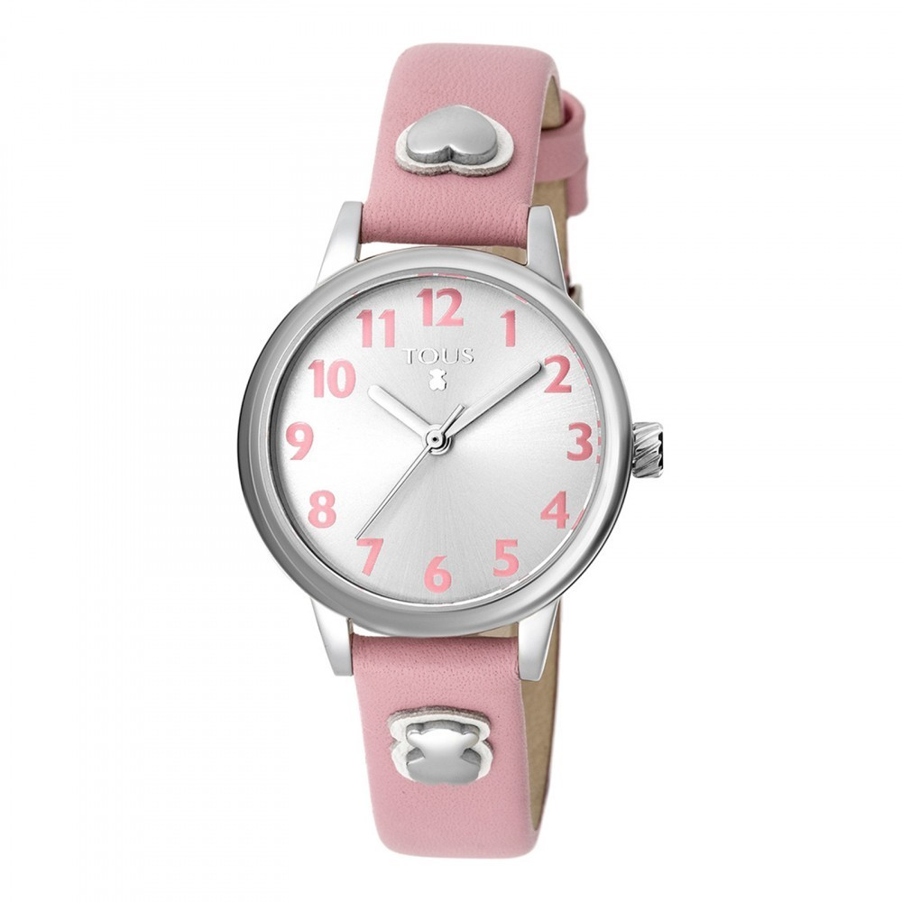 Dreamy Steel Watch with Pink Leather Strap