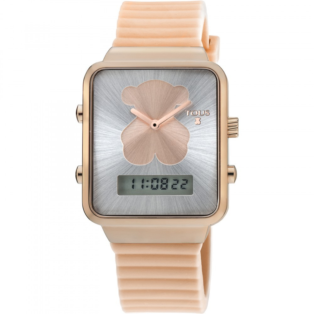 Pink IP Steel I-Bear Digital Watch with Nude Silicone Strap