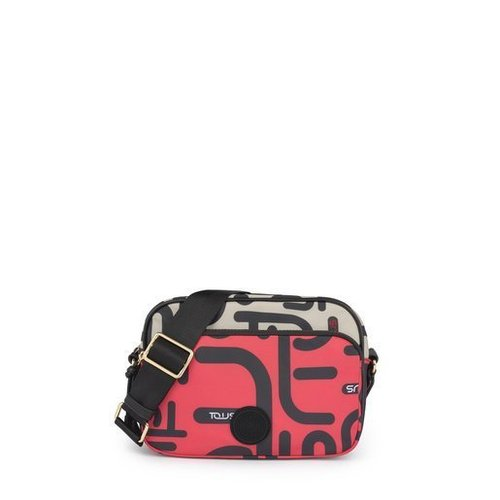 Doromy crossbody nylon bag Beige-Fuchsia