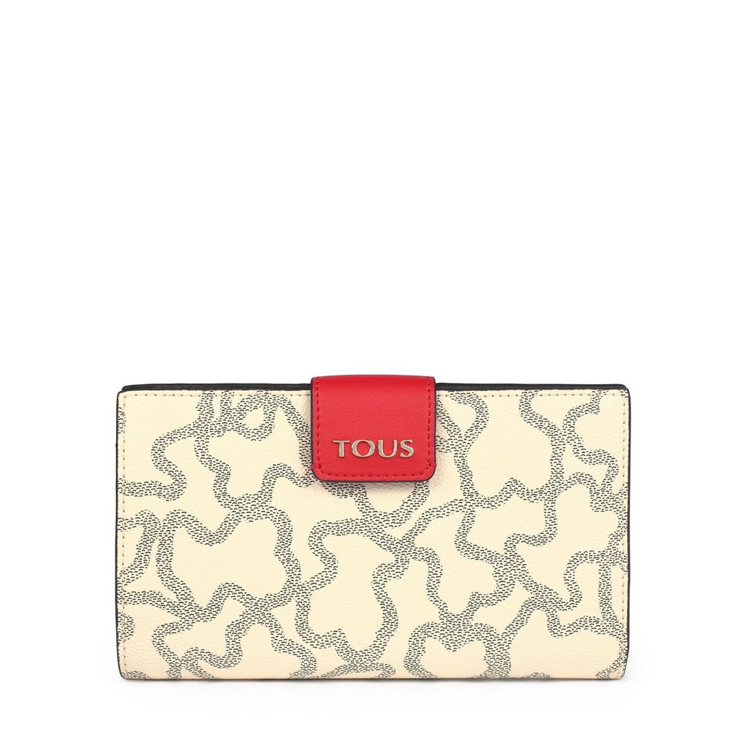 Mediana Billetera Flat Kaos Icon Multi Beige